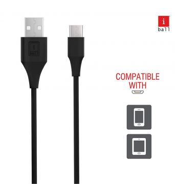 iBall IB-Type-C 1.2M USB Charge & Data Sync 1.2 Meter Long Fast Charging Cable (Black)