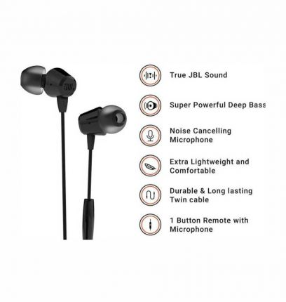 JBL T50HI Wired Headset with Mic  (Black)